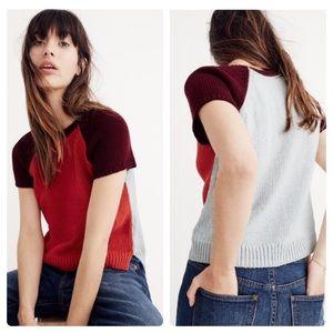 Madewell Colorblock Crop Sweater Tee XS